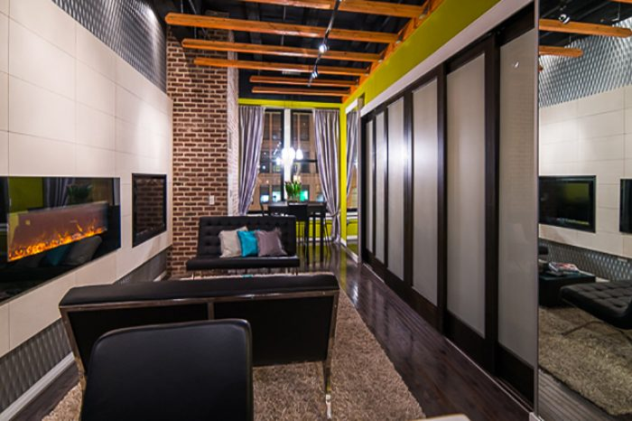 Chicago-condo-interior-design-hallway-fireplace